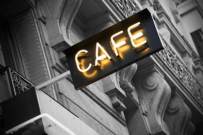 Cafe Wall Art - Photograph - Cafe Sign by Chevy Fleet