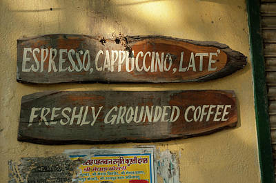 Restaurant Sign Photograph - Cafe Sign, Udaipur, Rajasthan, India by Inger Hogstrom