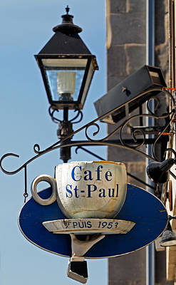 Montreal Restaurants Photograph - Cafe St Paul Sign Montreal by Norman Pogson