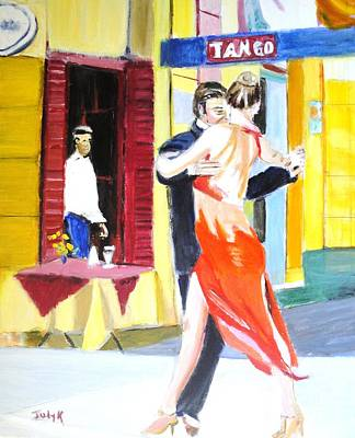 Art Print featuring the painting Cafe Tango by Judy Kay
