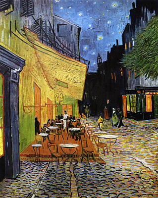 Mixed Media - Cafe Terrace At Night Reproduction Art Work by Vincent van Gogh