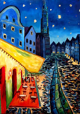 Cafe Terrace In Landshut - Inspired By Van Gogh Art Print by M Bleichner