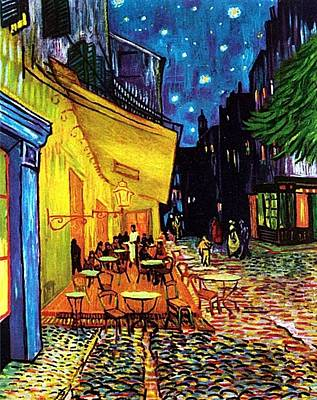 Art Print featuring the painting Cafe Terrace Place Du Forum At Night  by Vincent Van Gogh