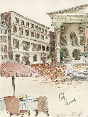 Outdoor Cafe Painting - Cafe Verona by Alan Paul