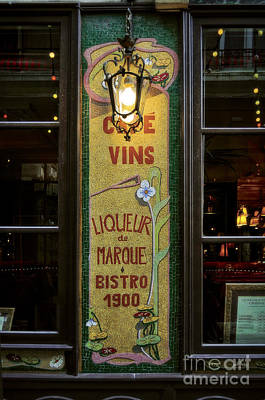 Cafe Vins At Night Art Print by Mary Machare