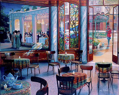Painting - Cafe Visit by John P. O'brien