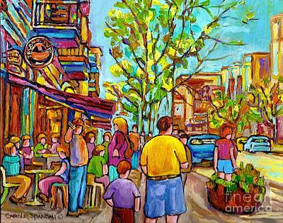 Montreal Streets Painting - Cafes In Springtime by Carole Spandau