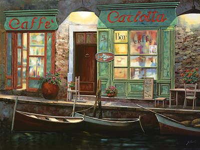Table Painting - caffe Carlotta by Guido Borelli