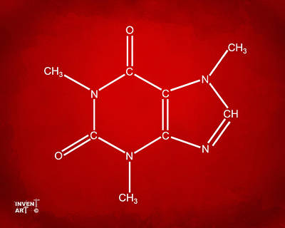 Digital Art - Caffeine Molecular Structure Red by Nikki Marie Smith