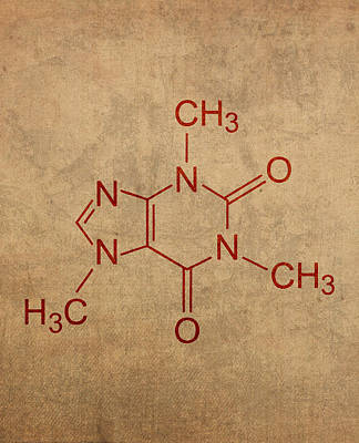 Molecule Mixed Media - Caffeine Molecule Coffee Fanatic Humor Art Poster by Design Turnpike