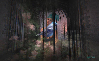 Enslave Digital Art - Caged Bird by Kylie Sabra