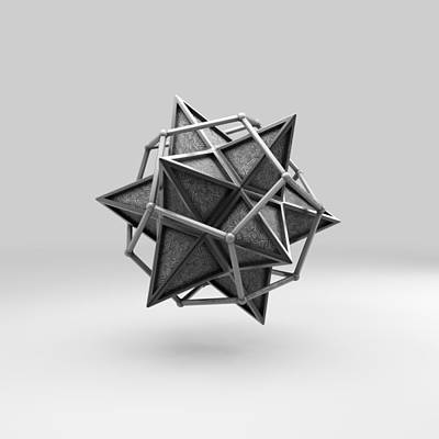 Cryptic Digital Art - Caged Stellated Dodecahedron by Par Thorbjornsson