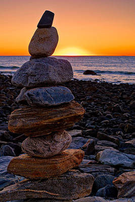 Photograph - Cairn At Sunrise Rye Harbor Nh by Jeff Sinon