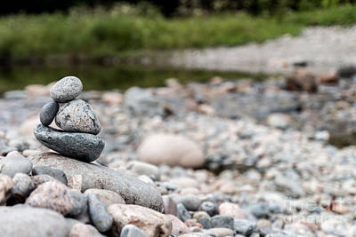 Maine Shore Photograph - Cairn by David Rucker