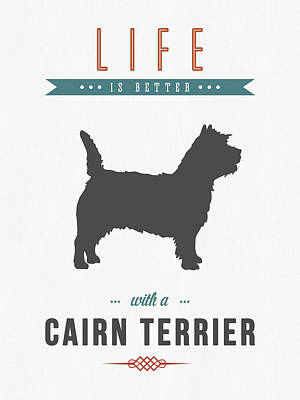 Canines Digital Art - Cairn Terrier 01 by Aged Pixel
