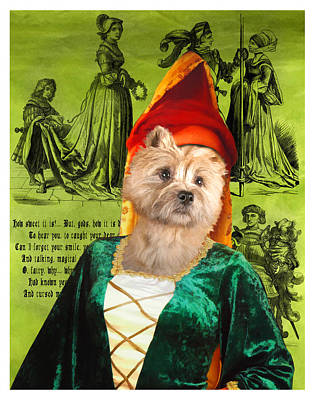 Painting - Cairn Terrier Art Canvas Print - Middle Age Lady by Sandra Sij