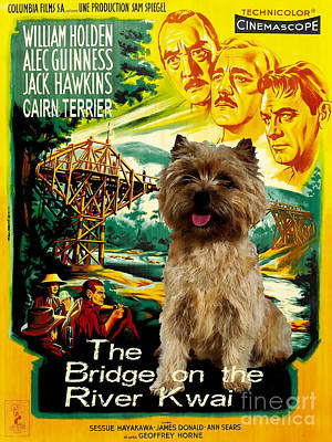 Painting - Cairn Terrier Art Canvas Print - The Bridge On The River Kwai Movie Poster by Sandra Sij