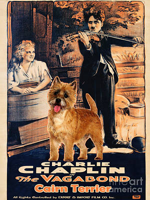 Painting - Cairn Terrier Art Canvas Print - The Vagabond Movie Poster by Sandra Sij