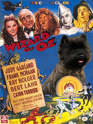 Painting - Cairn Terrier Art Canvas Print - The Wizard Of Oz Movie Poster by Sandra Sij