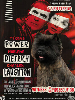 Painting - Cairn Terrier Art Canvas Print - Witness For The Prosecution Movie Poster by Sandra Sij
