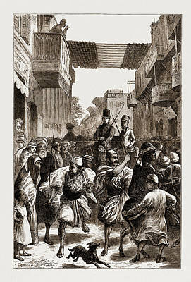 Cairo, Egypt, 1876 Clearing The Way For Ladies Art Print