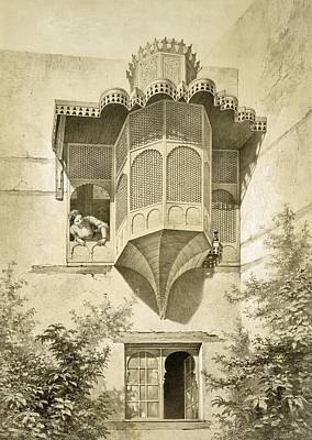 Leaning Drawing - Cairo House Called Beyt El-emyr , 19th by Emile Prisse d'Avennes