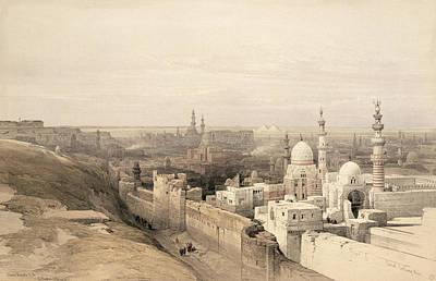 Pyramid Drawing - Cairo Looking West, From Egypt by David Roberts