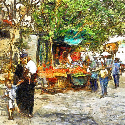 Travel Painting - Cairo Market by George Rossidis