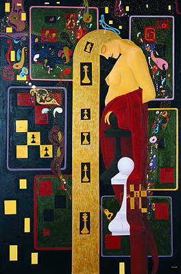 Caissa The Muse Of Chess Art Print by Nicolas Sphicas