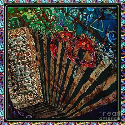 Music Studio Painting - Cajun Accordian - Bordered by Sue Duda