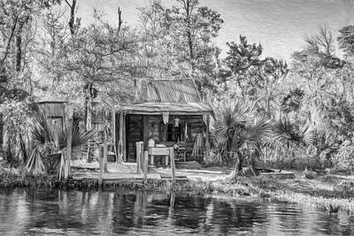 Water Jug Digital Art - Cajun Cabin - Paint Bw by Steve Harrington
