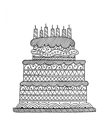 Birthday Drawing - Cake by Neeti Goswami
