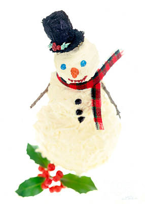 With Red. Photograph - Cake Snowman by Iris Richardson