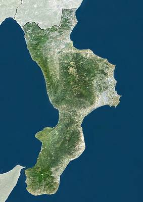 Basilicata Photograph - Calabria, Italy, Satellite Image by Science Photo Library