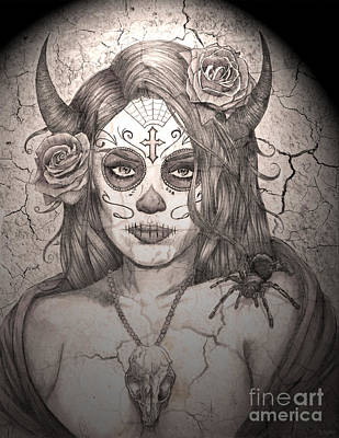 Sugar Skull Girl Drawing - Calavera Queen Of The Sugar Skulls by Ryan May