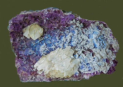 Photograph - Calcite On Amethyst Crystals by Millard H Sharp