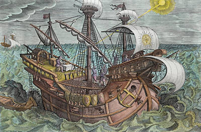 Of Pirate Ship Painting - Calculating Longitude by Jan van der Straet