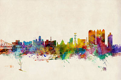 Indian Digital Art - Calcutta India Skyline by Michael Tompsett