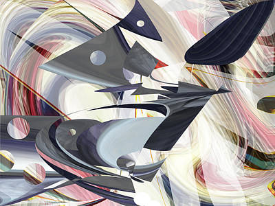 Digital Art - Calder Flight - Fine Art Digital Abstract by rd Erickson