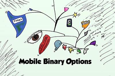 Editorial Cartoon Mixed Media - Calder Inspired Mobile Binary Options Cartoon by OptionsClick BlogArt