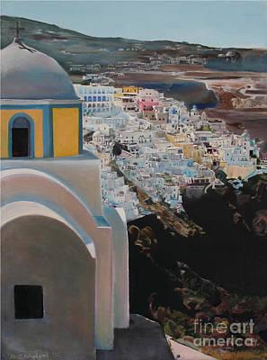 Caldera Church Santorini Art Print by Debra Chmelina