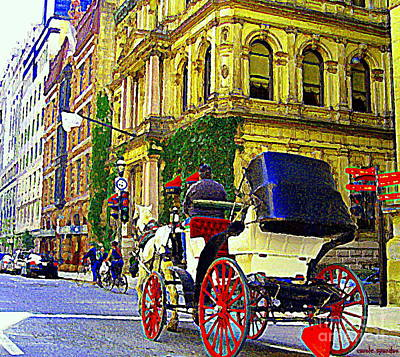 Rue Notre Dame Painting - Caleche Ride By The Hotel Le St James Vieux Port Montreal Old World Charm And Elegance C Spandau Art by Carole Spandau
