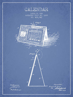 Calendar Patent From 1889 - Light Blue Art Print by Aged Pixel