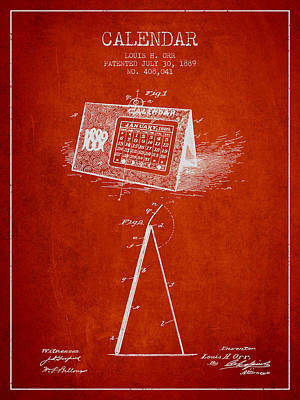 Calendar Patent From 1889 - Red Art Print by Aged Pixel