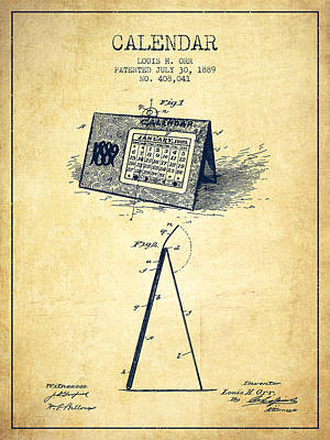 Calendar Patent From 1889 - Vintage Art Print by Aged Pixel