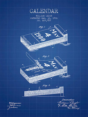 Calendar Patent From 1901 - Blueprint Art Print by Aged Pixel
