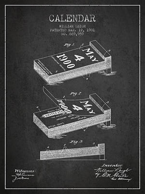 Calendar Patent From 1901 - Charcoal Art Print by Aged Pixel