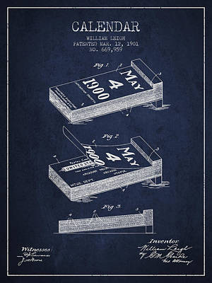 Calendar Patent From 1901 - Navy Blue Art Print by Aged Pixel