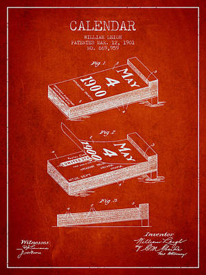 Calendar Patent From 1901 - Red Art Print by Aged Pixel