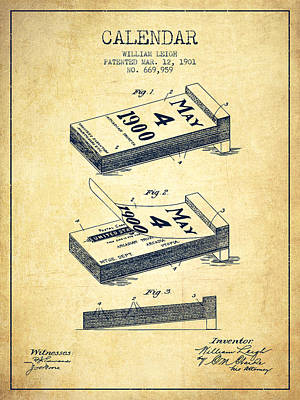 Calendar Patent From 1901 - Vintage Art Print by Aged Pixel